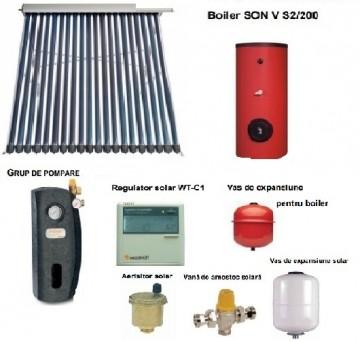 Poza Pachet panou solar cu 30 tuburi vidate SONTEC si boiler 200 litri pentru 3-4 persoane